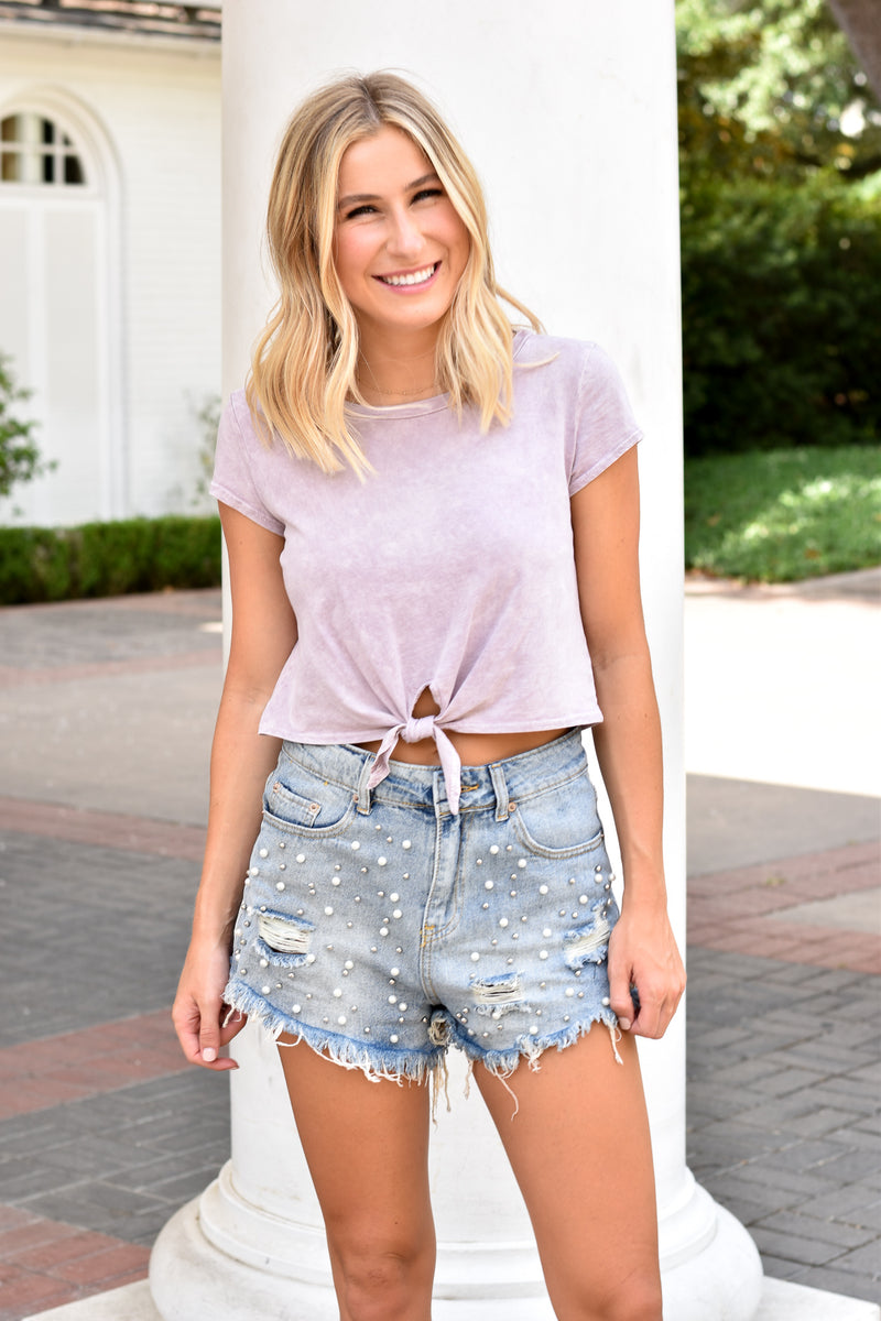 Basic Knot Crop Tee - Lavender