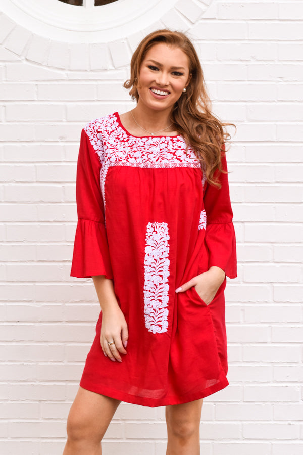 The Regina Long Sleeve Dress - Red