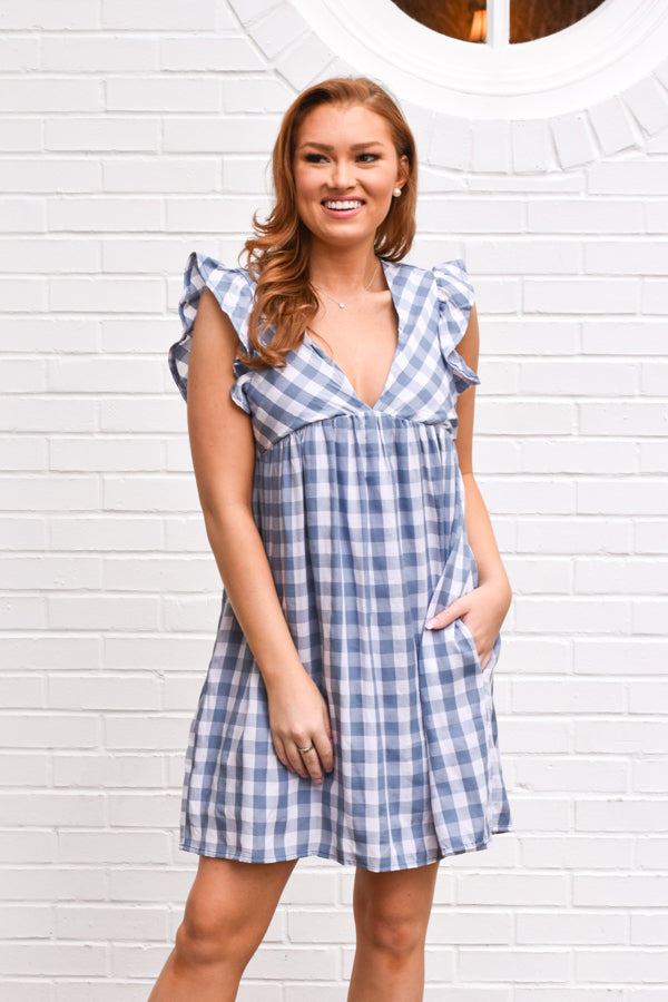 Hello Darling Romper - Denim Blue