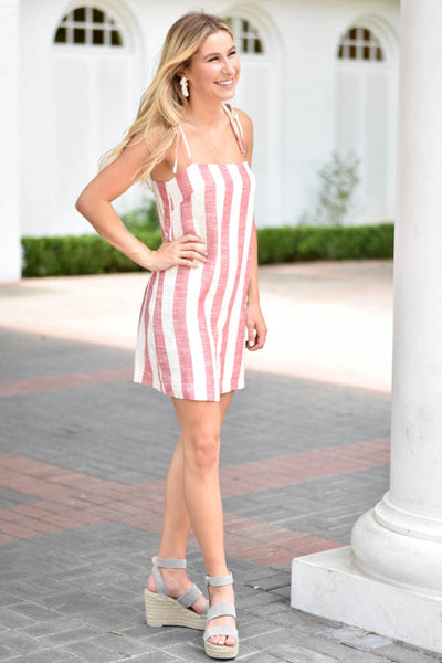 Summer's On Striped Dress - Red