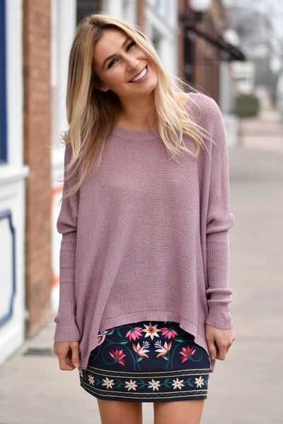 Savannah Knit Sweater Top- Mauve