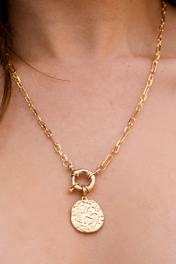 Stay The Course Coin Necklace - Gold