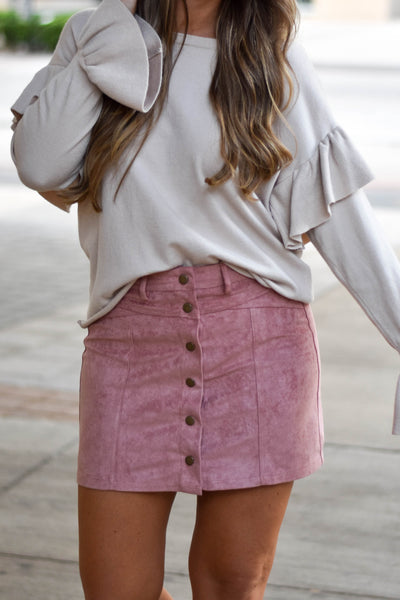 Oh Snap Suede Skirt- Dusty Rose