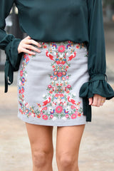 Pick Your Print Embroidered Skirt- Grey