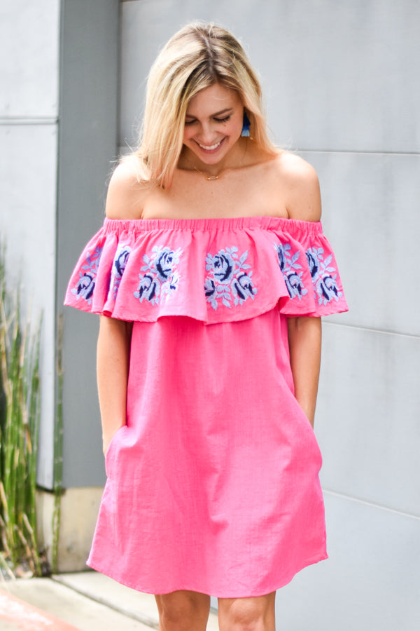 Desert Rose Off The Shoulder Dress - Fuchsia