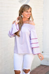Mauve About It Stripe Top