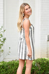 Summer's On Striped Dress - Black
