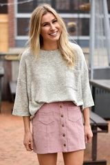 Rose Corduroy Button-Front Skirt