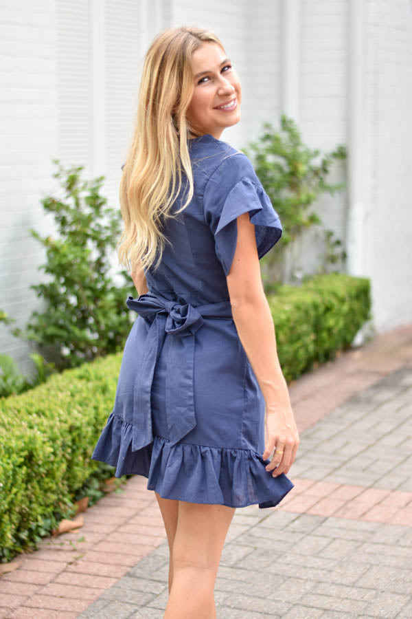 Wrap Around Ruffle Dress - Navy