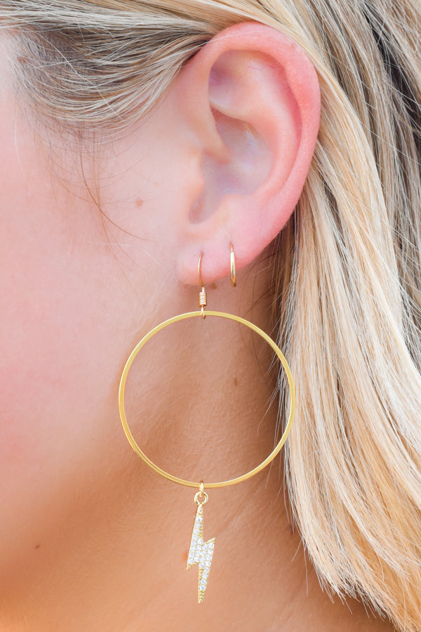 Struck On You Lightning Bolt Earrings - Gold