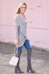 Hold Me Tight Wrap Sweater - Grey
