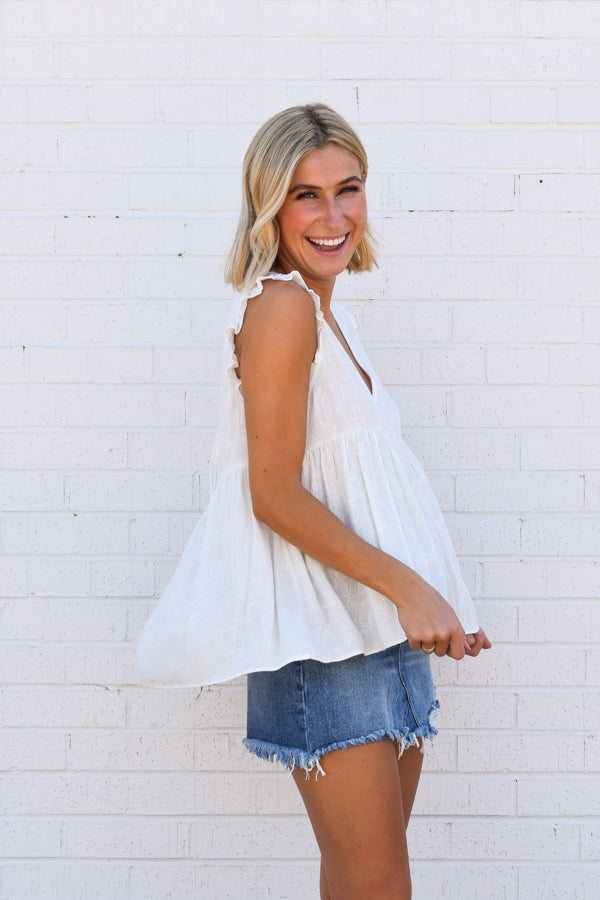 Babydoll Best Top - White
