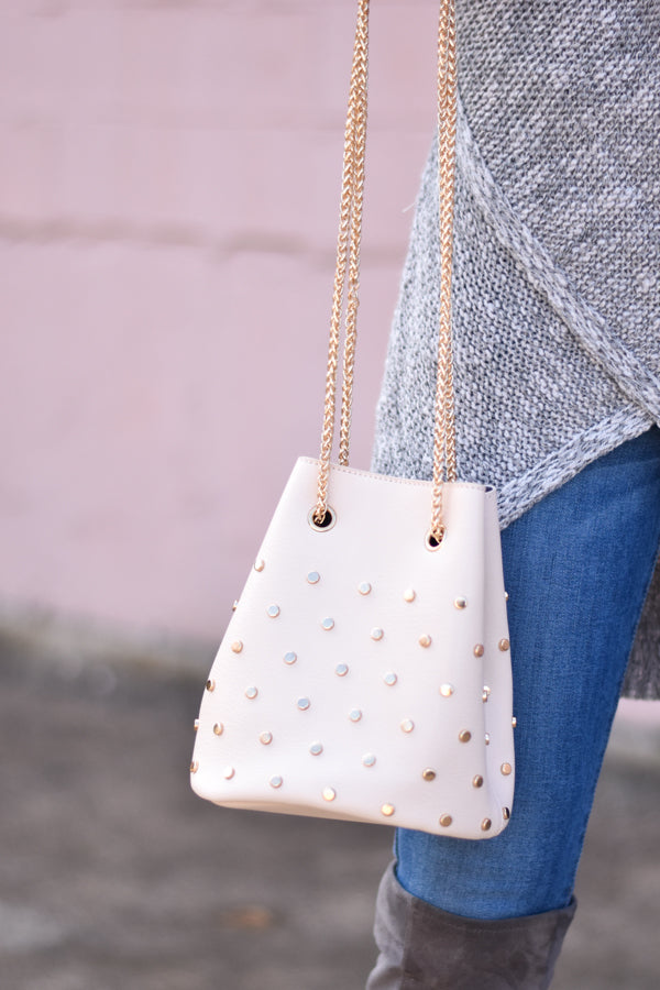 Stud Lover Bucket Bag - Ivory