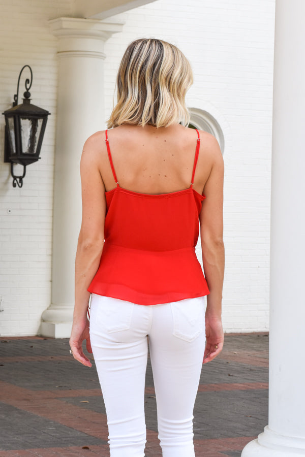 Miss Independent Wrap Top - Red