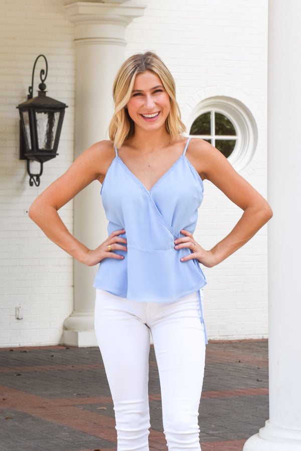 Miss Independent Wrap Top - Airy Blue