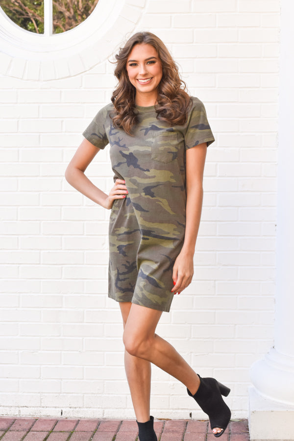 About Face Dress - Olive Camo