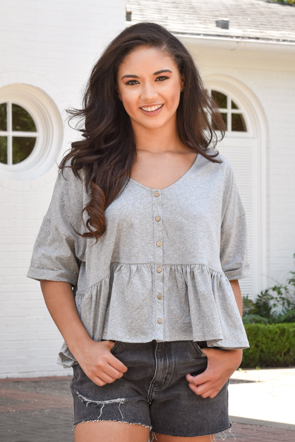 Comfortably Confident Top - Heather Grey