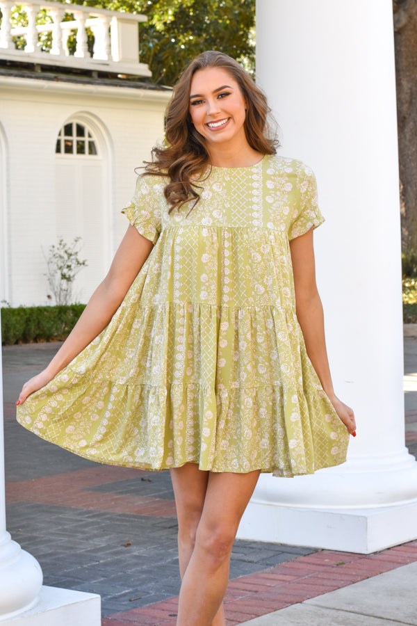 Frolick In Floral Dress - Pear & Pink