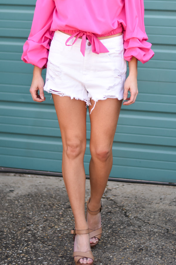 Wild + Free High Rise White Denim Shorts