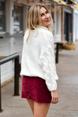 What A Girl Wants Corduroy Skirt- Burgundy