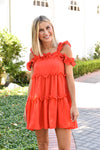 City Strolling Ruffle Dress - Red
