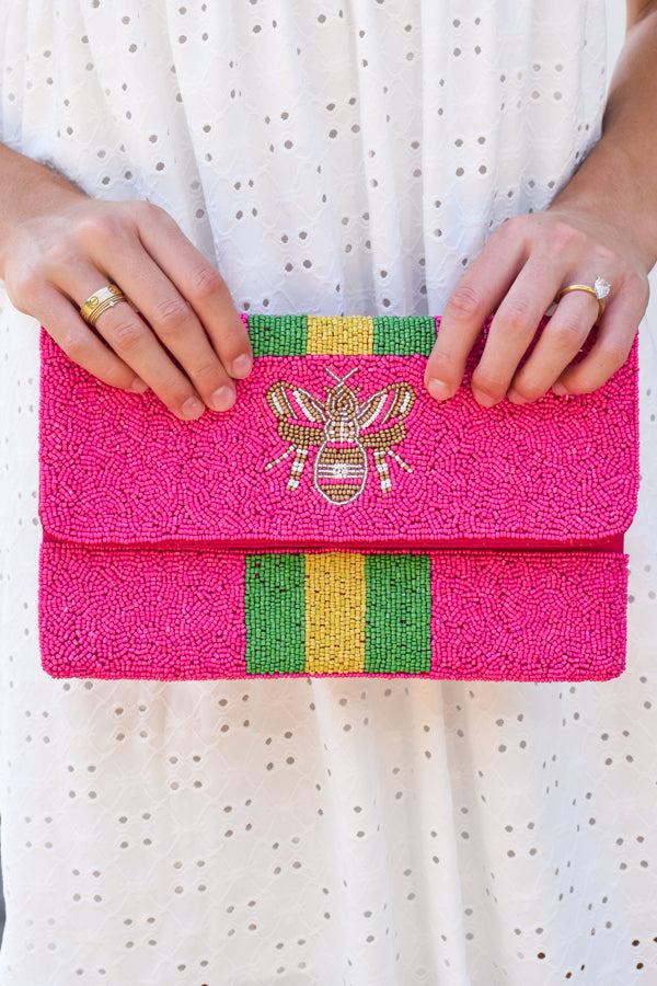 Queen Bee Beaded Clutch - Hot Pink