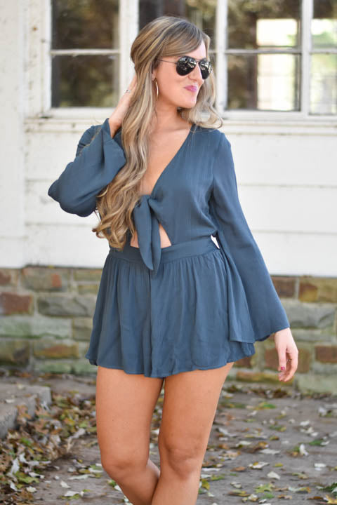 All Tied Up Forest Green Romper