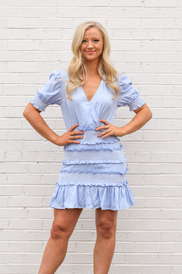 Stitched Together Dress - Blue Bell