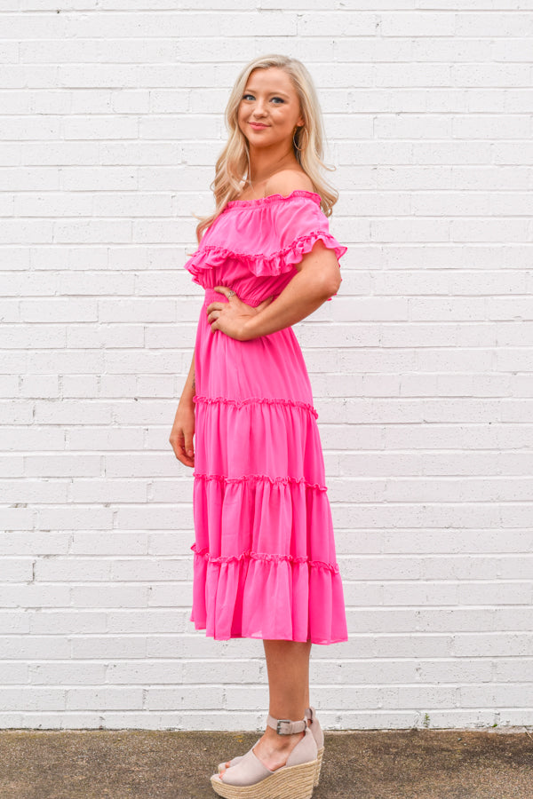 Live A Little Midi Dress - Candy Pink