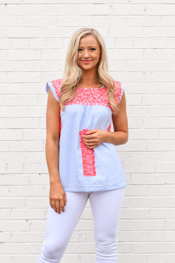 The Chandler Top - Blue Stripe