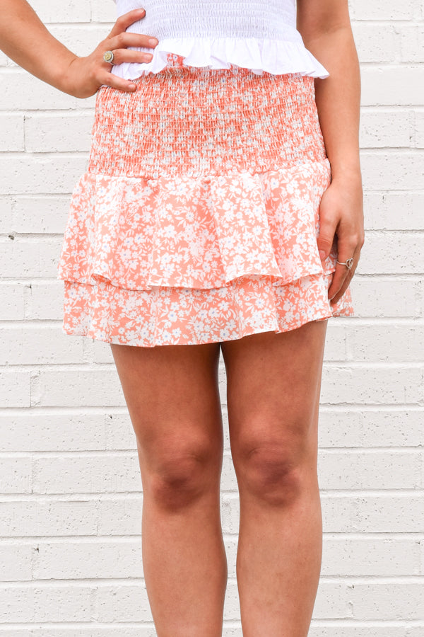 Settle Into Spring Skirt - Apricot
