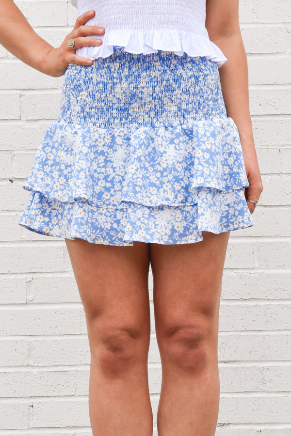 Settle Into Spring Skirt - Blue Floral
