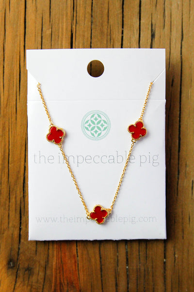 multi clover necklace - Red