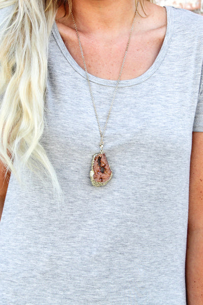 Rust Raw Stone Necklace
