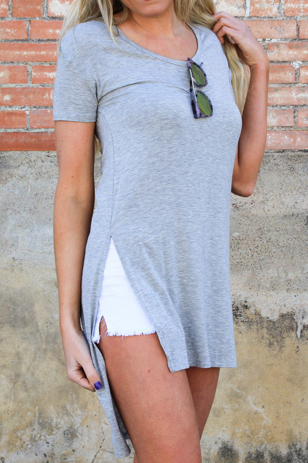 Z Supply Heather Grey Slit Tee