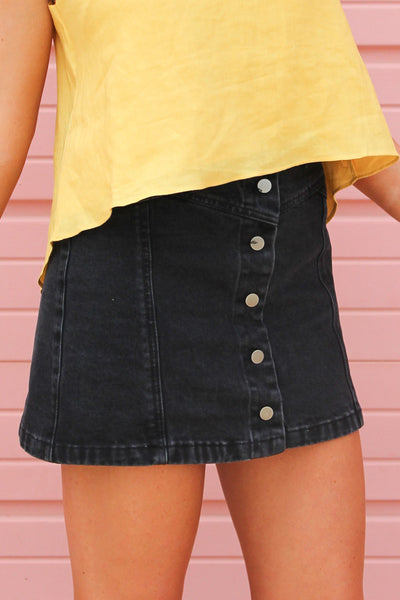 Black Button-Front Denim Skirt