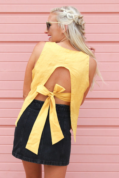 Mustard Tied and True Top