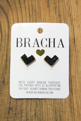 Bracha Black Greater Than Studs
