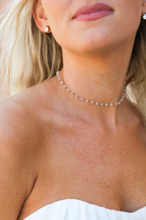 Moonstone Beaded Choker
