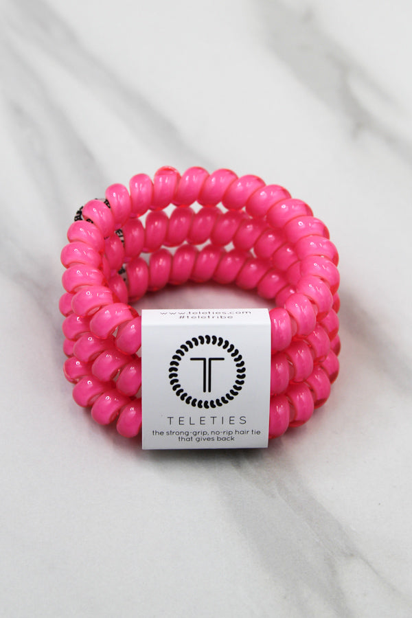 Teleties Large Hair Ties - Hot Pink