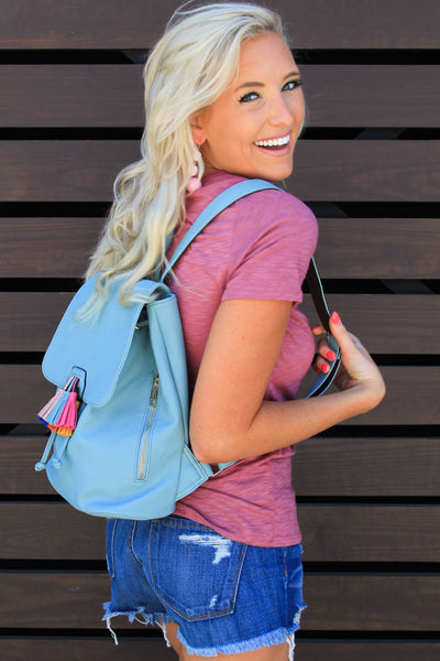 Seafoam Feelin' Good Tassel Backpack