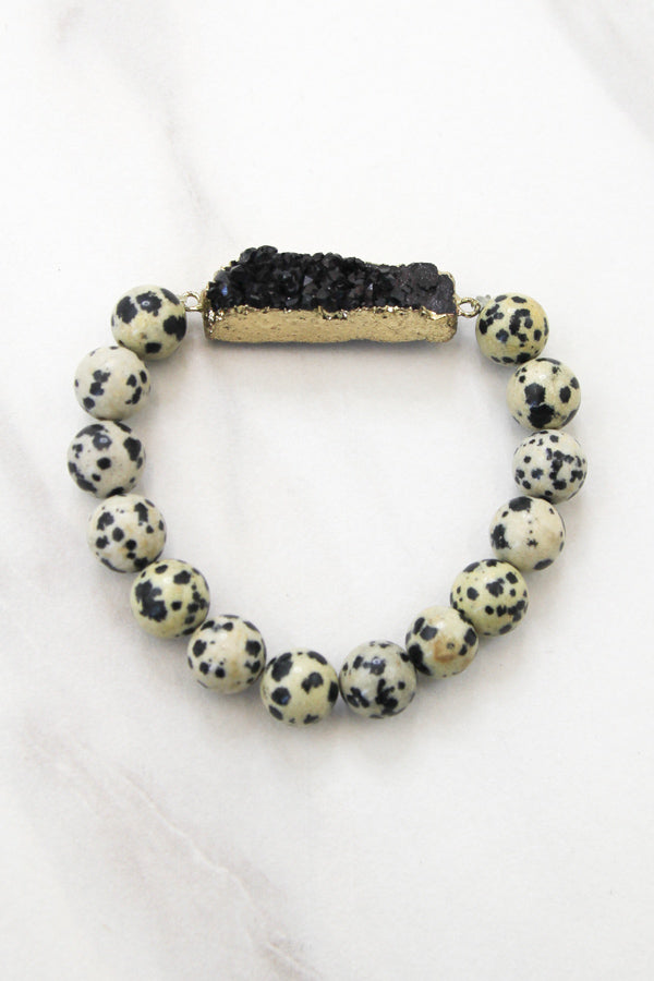 Dalmatian Stone Bracelet With Black Druzy Bar