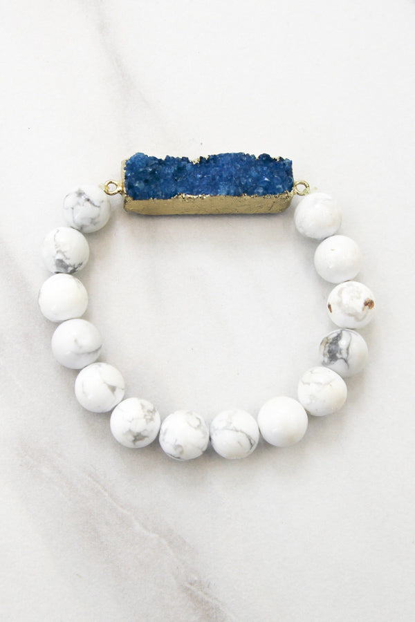 Marble Bracelet With Turquoise Druzy Bar