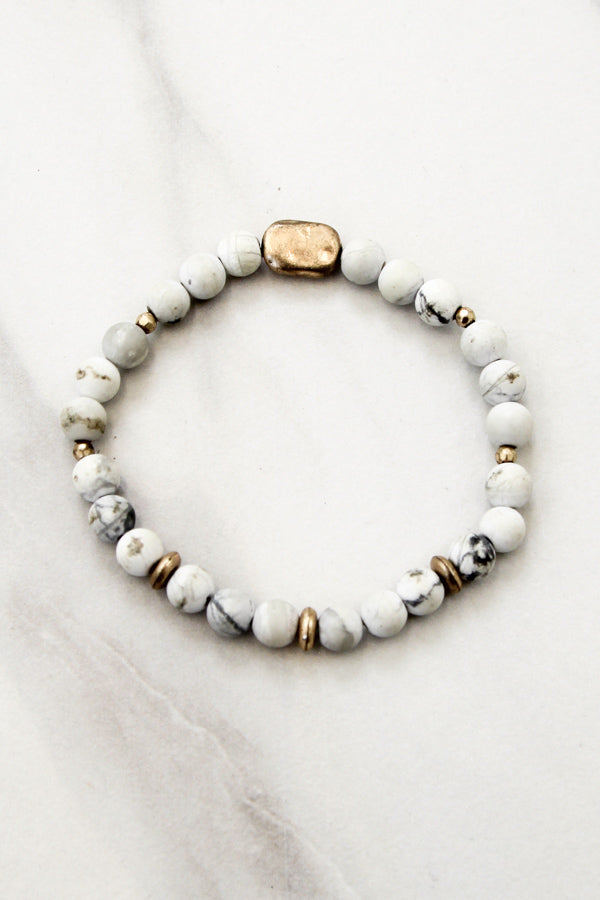 Marble Bead Bracelet With Gold Center Stone