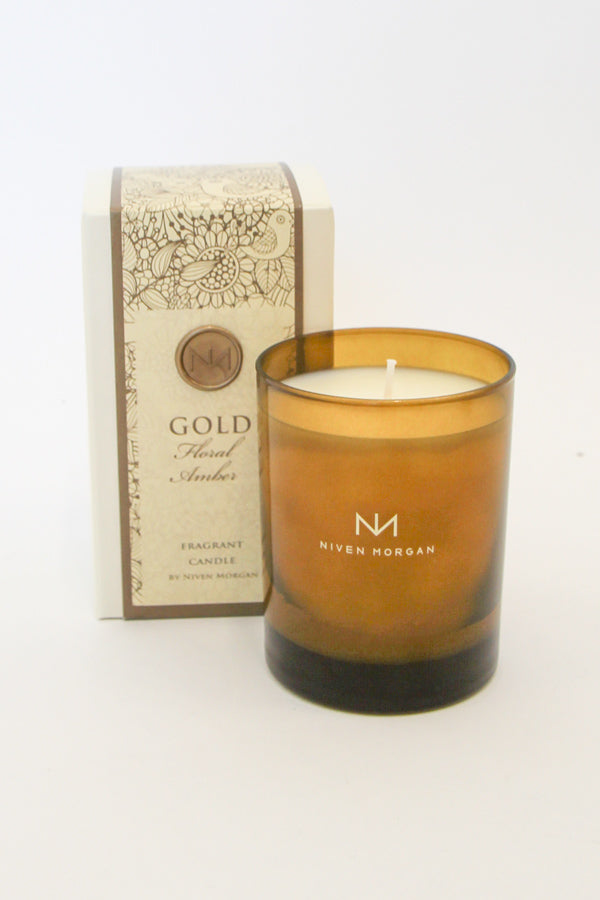 Niven Morgan Gold Floral Amber Candle
