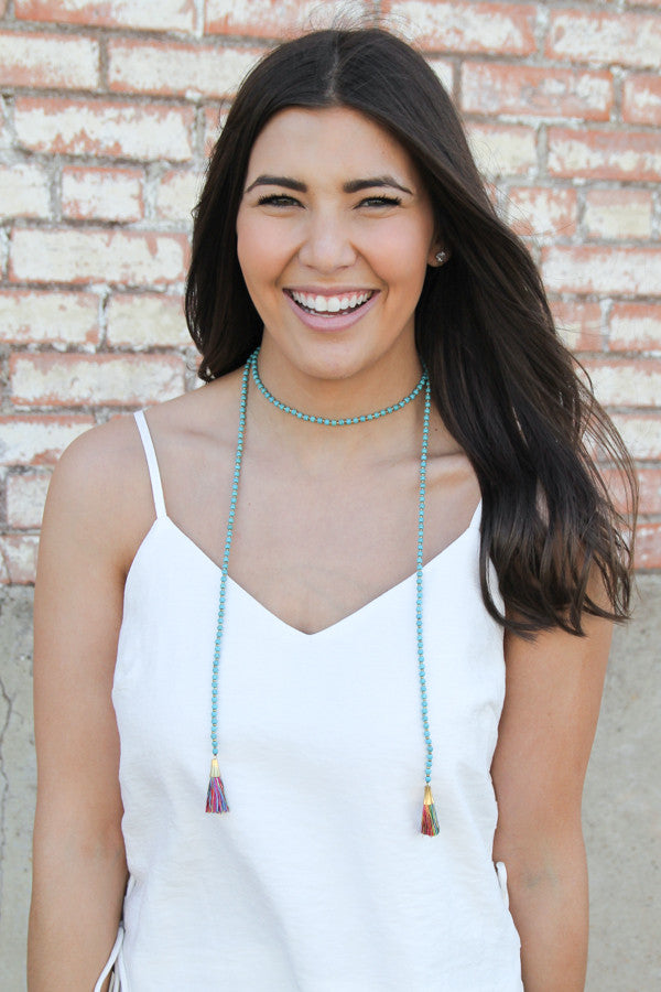 Turquoise Beaded Wrap Necklace