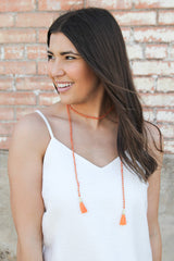 Orange Beaded Wrap Necklace