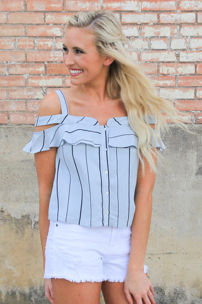 Stripe it Out Blue Top