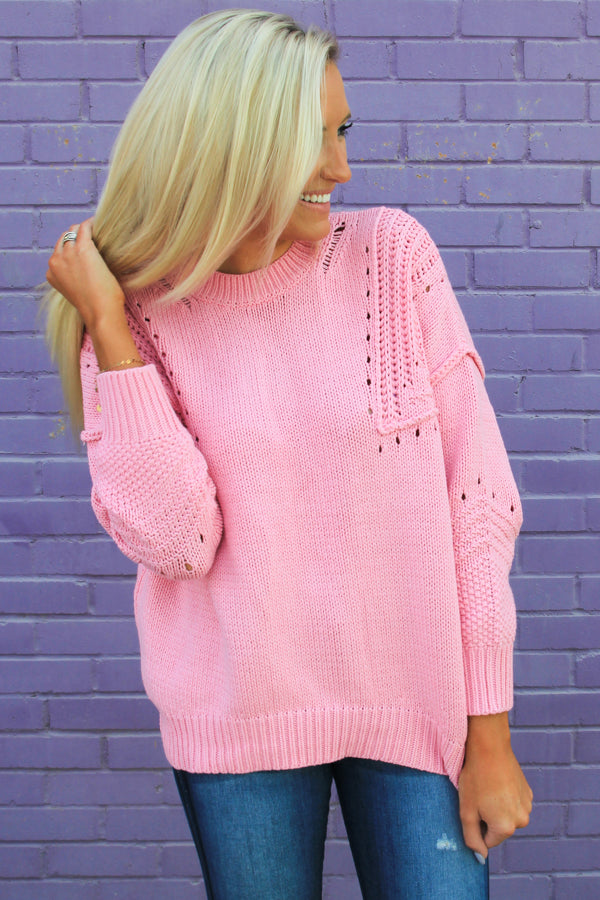 Bubblegum Pink Cable Sweater