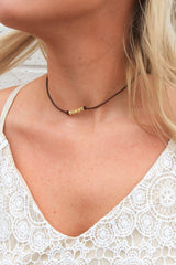 Dark Brown Leather Choker Necklace